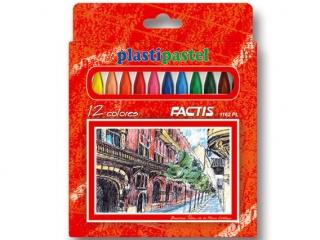 Kredki pastele plastikowe 12 kolorów FACTIS