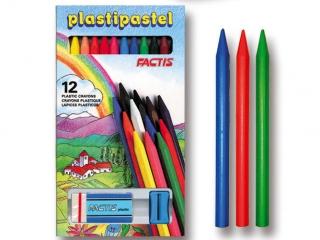Kredki pastele plastikowe 12 kolorów FACTIS + gumka i temper