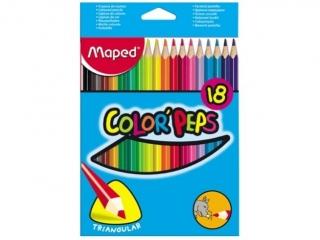 Kredki trójk±tne MAPED (83218)18 kolorów cienkie