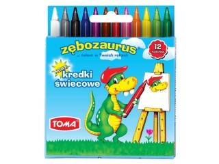 Kredki ¶wiecowe TOMA 12 kolorów Zêbozaurus TO-558