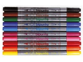 Pisaki dwustronne 10 kolorów FIBRACOLOR Bipunta - etui HURT