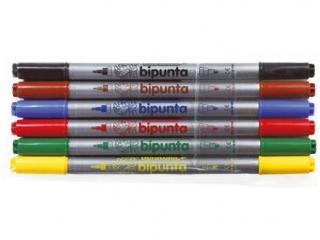 Pisaki dwustronne  6 kolorów FIBRACOLOR Bipunta - etui