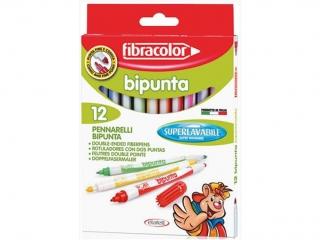 Pisaki dwustronne 12 kolorów FIBRACOLOR Bipunta