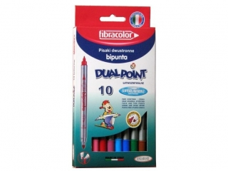 Pisaki dwustronne 10 kolorów FIBRACOLOR w pude³ku