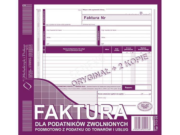 Faktury Michalczyk I Prokop Seneks Artykuły Papiernicze